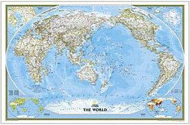 インテリアに最適な壁掛け用ポスタータイプ 世界地図太平洋中心 World Classic Pacific Centered ナショナルジオグラフィック製正規品