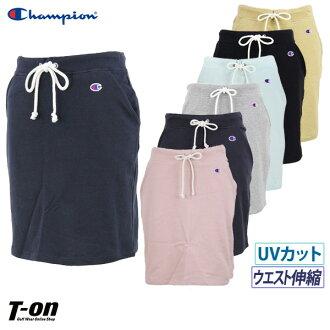 冠军冠军日本正规的物品裙子运动衫裙子偏长长伸展UV cut标识徽章Champion女士高尔夫球服装