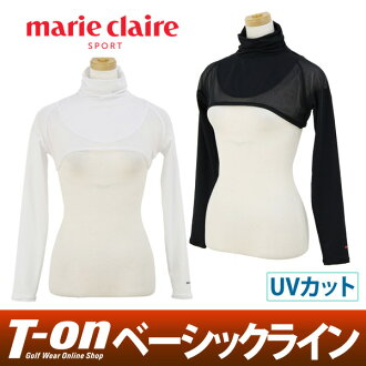 Golf wear in the spring and summer latest inner shirt 2018 for the Malian Mari Clair Clair's pole marie claire sport Lady's sleevelet high neck inner bolero long sleeves UV cut sweat perspiration fast-dry layering