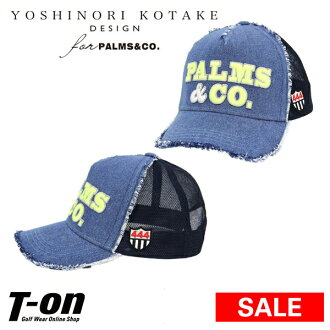 Yoshinori Kotake design forehand palms and Coe YOSHINORI KOTAKE DESIGN for PALMS&CO. Golf in the spring and summer latest men's lady's cap mesh cap damage processing fluorescence color solid logo embroidery sliding department terry 2018