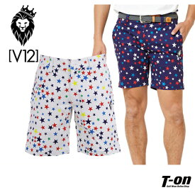 V12 ゴルフ ヴィ・トゥエルブ メンズ パンツ ショートパンツ コットン素材 ストレッチ MULTI STAR SHORTS スター柄 ゴルフウェア