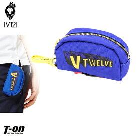 V12 ゴルフ ヴィ・トゥエルブ メンズ レディース ボールポーチ ボールケース ボールホルダー 2個用 ティー挿し付き カラビナ付き ロゴプリント SUPER V12 ゴルフ