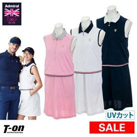 【50%OFF SALE】アドミラルゴルフ Admiral Golf 日本正規品 レディース ワンピース ノースリーブポロワンピース インナーパンツ付き レイヤードデザイン ジャンバースカート ロゴ ゴルフウェア