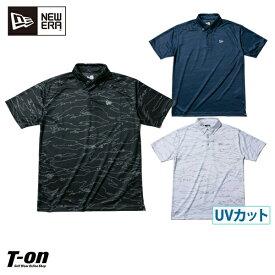 ニューエラ ゴルフ ニューエラ NEW ERA 日本正規品 メンズ ポロシャツ 半袖ボタンダウンポロシャツ M〜3Lまでご用意 ストレッチ UVカット 吸汗速乾 タイガーストライプラインカモ フラッグロゴプリント ゴルフウェア