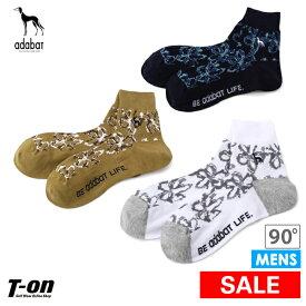 【30%OFF SALE】アダバット adabat メンズ ソックス ショート丈ソックス ボタニカル柄 サルーキ犬刺繍 ゴルフ