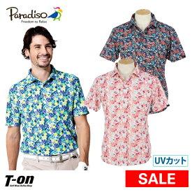 【30%OFF SALE】パラディーゾ PARADISO メンズ ポロシャツ 半袖ポロシャツ M〜3Lまで UVカット 吸汗速乾 フラワープリント 2019 春夏 ゴルフウェア