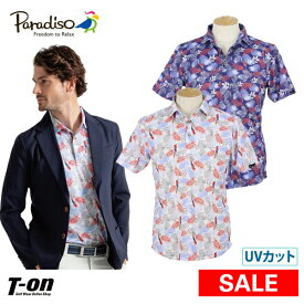 【30%OFF SALE】パラディーゾ PARADISO メンズ ポロシャツ 半袖ポロシャツ M〜3Lまで UVカット 吸汗速乾 ボタニカル柄 2019 春夏 新作 ゴルフウェア
