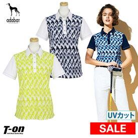 【40%OFF SALE】アダバット adabat レディース ポロシャツ 半袖ポロシャツ UVカット 吸汗速乾 ストレッチ アート柄 透けにくい素材 【送料無料】 ゴルフウェア