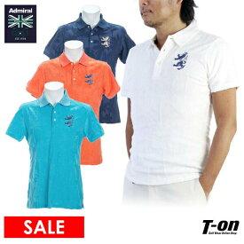 【30%OFF SALE】アドミラルゴルフ Admiral Golf 日本正規品 メンズ ポロシャツ 半袖 ストレッチ 消臭 衿裏メッシュ パイル素材 ヤシの木ジャガードモチーフ ランパントロゴ刺繍 ゴルフウェア