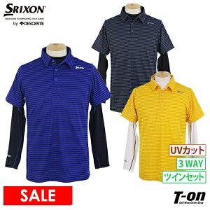 スリクソンbyデサント SRIXON by DESCENTE メンズ ポロシャツ &インナーシャツ ツインセット 半袖ポロシャツ 長袖ハイネックシャツ UVカット 3WAY 単品でも使える 2021 秋冬 新作 ゴルフウェア