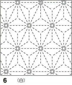 オリムパス製絲 刺し子 花ふきん布パック 麻の葉(あさのは) 白 伝統柄 6