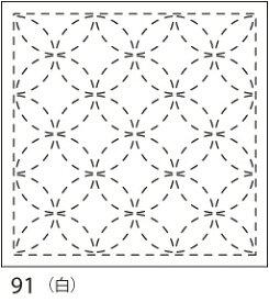 【クーポン配布中】.オリムパス製絲 刺し子 花ふきん 布パック 七宝つなぎ(しっぽうつなぎ) 白 みんなできちゃうシリーズ 伝統柄 91