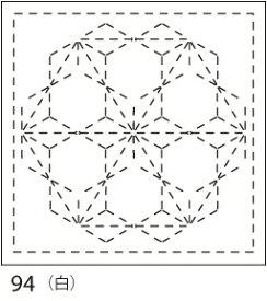 【クーポン配布中】.オリムパス 刺し子 花ふきん 布パック 飛び麻の葉(とびあさのは) 白 みんなできちゃうシリーズ 伝統柄 94