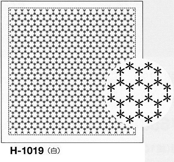 オリムパス製絲 刺し子 花ふきん布パック 角亀甲つなぎ 一目刺し 白 伝統柄 H-1019