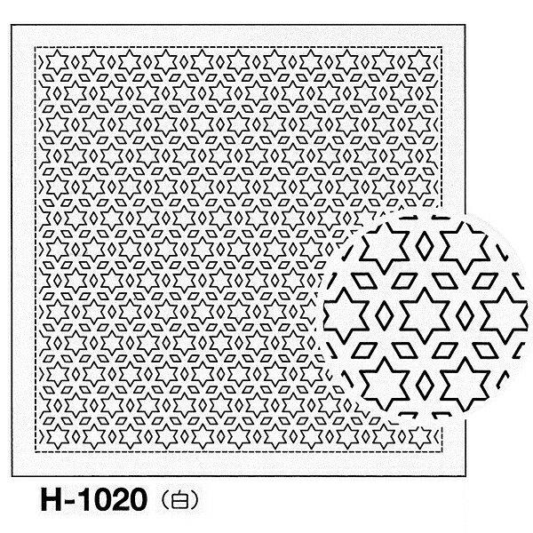 クーポン配布中! オリムパス製絲 刺し子 花ふきん 布パック 星と三つ菱 一目刺し 白 伝統柄 H-1020