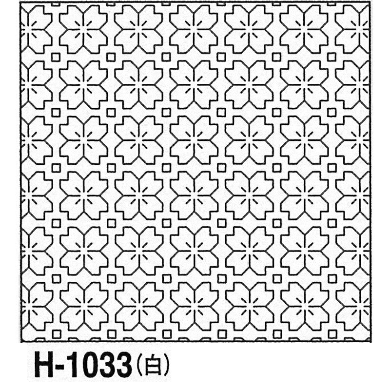 オリムパス製絲 刺し子 花ふきん布パック 桜の花 一目刺し 白 伝統柄 H-1033