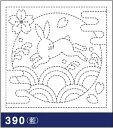 .オリムパス 刺し子 花ふきん 布パック うさぎと青海波 藍 和柄 390 刺しゅう 伝統的 刺繍 技法