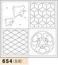 オリムパス製絲 刺し子 花ふきん布パック 絵(え)あわせ 生成 和柄 654