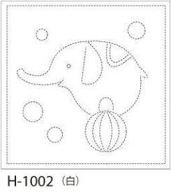 【クーポン配布中】.オリムパス 刺し子 花ふきん 布パック ゾウ 白 みんなできちゃうシリーズ オリジナル柄 H-1002