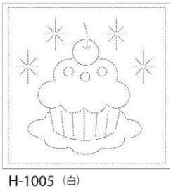 【クーポン配布中】.オリムパス 刺し子 花ふきん 布パック カップケーキ 白 みんなできちゃうシリーズ オリジナル柄 H-1005