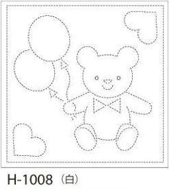 【クーポン配布中】.オリムパス 刺し子 花ふきん 布パック くま 白 みんなできちゃうシリーズ オリジナル柄 H-1008