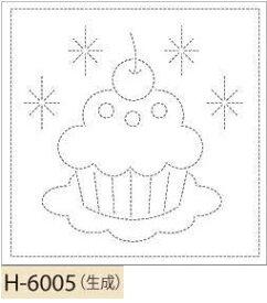 【クーポン配布中】.オリムパス製絲 刺し子 花ふきん 布パック カップケーキ 生成 みんなできちゃうシリーズ オリジナル柄 H-6005