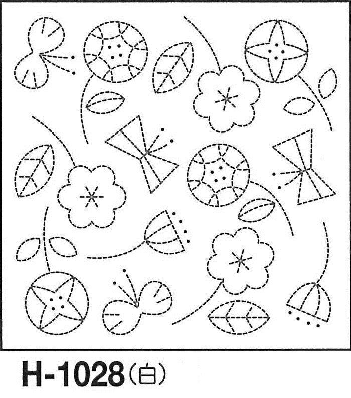 クーポン配布中! オリムパス製絲 刺し子 花ふきん 布パック 北欧モチーフ フラワー 白 オリジナル柄 H-1028