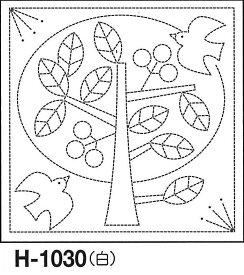 .オリムパス 刺し子 花ふきん 布パック 北欧モチーフ ツリー 白 オリジナル柄 H-1030 刺しゅう 伝統的 刺繍 技法