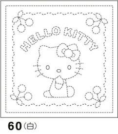 オリムパス製絲 刺し子 花ふきん 布パック ハローキティとさくらんぼ 白 サンリオ・キャラクター柄 60