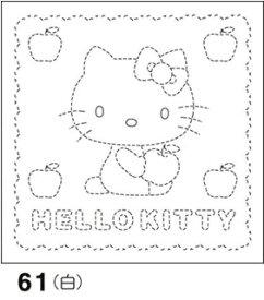 オリムパス製絲 刺し子 花ふきん 布パック ハローキティとりんご 白 サンリオ・キャラクター柄 61