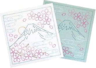 "OLYMPUS THREAD Mfg Sashiko Hana fukin Kit ""Mt.Fuji and cherry tree"" SK-292"