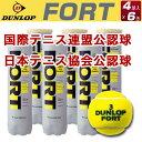 ダンロップ フォート(FORT)4個入X6缶(プレッシャー DUNLOP 球 ボール 硬式テニスボール ダンロップフォート 練習グッズ 小物 テニスサポートセンター テニスボール テニス用品 プレゼン