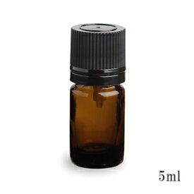 スタンダードタイプ遮光瓶(茶色)黒キャップ5ml (アルコール、エタノール対応)50本セット 40%割引バルク販売(ドロッパー付きセイフティーキャップ)