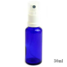 スプレー付遮光瓶(ブルー)30ml (アルコール、エタノール対応)50本セット 40%割引バルク販売