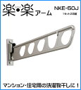 壁付け物干し ナガエ 楽・楽アーム NKE-50J ステンカラー アーム長さ510mm 1セット2本いり 場所をとらないスイング収納式