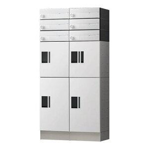 【代引不可】 ナスタ 集合住宅向け 宅配ボックス(プチ宅 KS-TLP36 機械式・防水タイプ)+郵便受(KS-MB4202PU防滴タイプポスト)+幅木(KS-TLP360LB-SH100) 6世帯向 ホワイト(受注生産目安納期