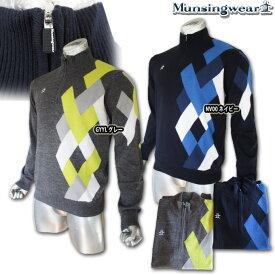 マンシングウェア(Munsingwear) ライナー付 アーガイルハーフジップセーター