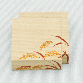 It is sparrow lacquer work Osamu Takenaka peak product in 色紙重香合稲穂