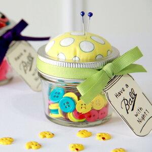 ピンクッション 小物入れ 針山 裁縫 手芸 アメリカ雑貨 メイソンジャー 針 待ち針 まち針 お裁縫 可愛い 雑貨 ボタン ボビン プレゼント 父の日 母の日ギフト
