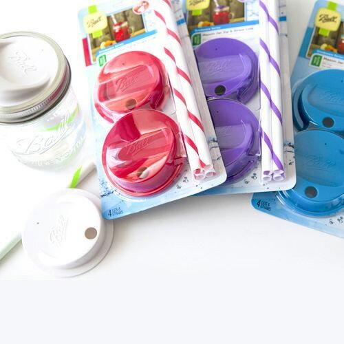 【4個セット】 Ball オリジナル メイソンジャーMasonjar レギュラーマウス用 ワイドマウス用 ストロー蓋セット 全3色 レッド ブルー パープル 赤 青 紫