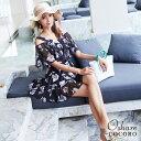 【1月SALE】水着 レディース ワンピース オールインワン 体型カバー 大きいサイズ オフショルダー オトナ女子 花柄 か…