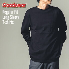 GOODWEAR グッドウェア ロンT ポケT tシャツ 長袖 リブ ロング 長袖Tシャツ ポケット レギュラーフィット ロングスリーブTシャツ オーバーサイズ デカめ 長袖T 7.0oz