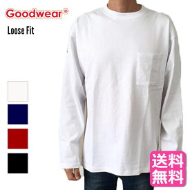 GOODWEAR グッドウェア 長袖Tシャツ tシャツ 長袖 リブ ロング ポケット ルーズフィット ロングスリーヴTシャツ ロング丈 ラウンド裾 オーバーサイズ デカめ 長袖TロンT