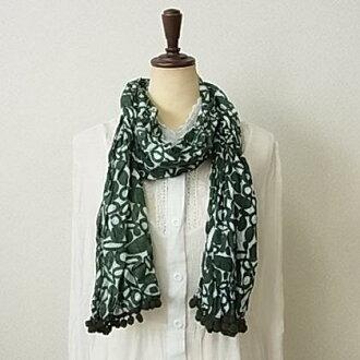 POM-PON Ryu-4 colors-crinkle cotton scarf ★