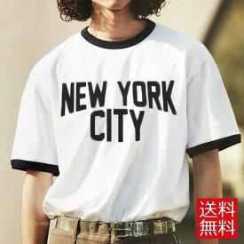 """ロックTシャツ バンドTシャツ John Lennon ジョン・レノン """"NEW YORK CITY"""" ロゴT プリントTシャツ トリムTシャツ リンガーTシャツ メンズ レディース Tシャツ バンドT 復刻版"""