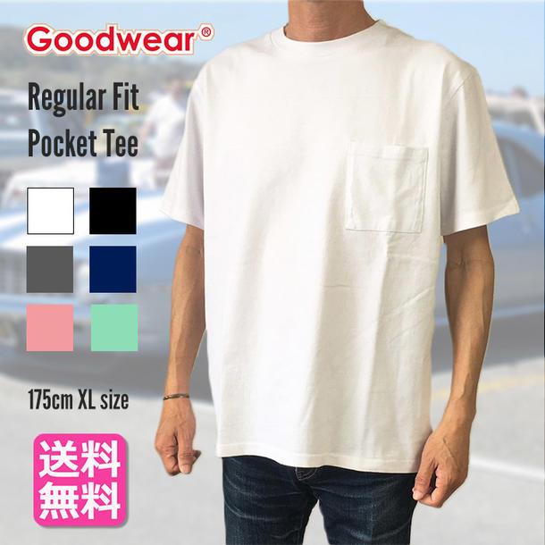 GOODWEAR グッドウェア ポケT Tシャツ 半袖 リブ レギュラーフィット S/S/T ポケット レギュラー メンズ おすすめ 7.0oz