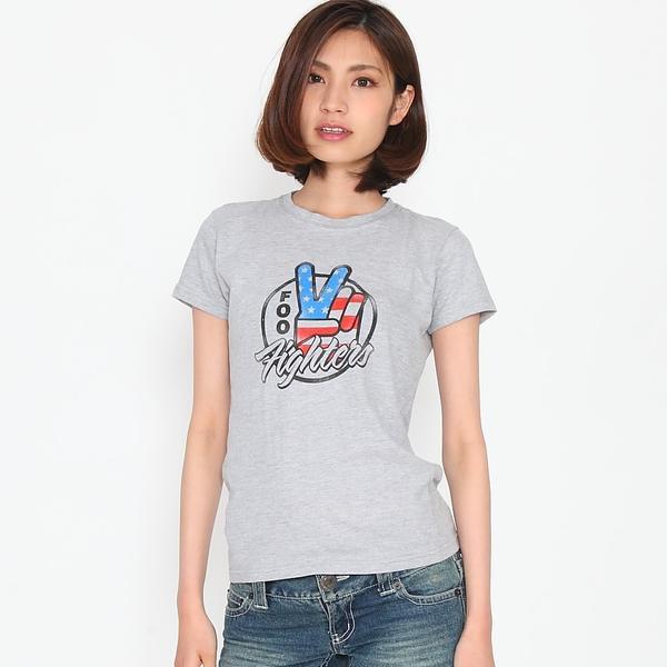 ロックTシャツ バンドTシャツ Foo Fighters フー・ファイターズ 星条旗 グレー レディース Tシャツ