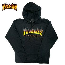 THRASHER スラッシャー パーカー ロゴ ファイアーパターン 炎 ブラック プルオーバー パーカ 裏起毛 スウェット メンズ レディース