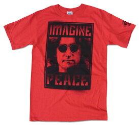 ロックTシャツ バンドTシャツ John Lennon ジョン・レノン IMAGINE レッド イマジン プリントTシャツ 限定Tシャツ 半袖Tシャツ ROCK メンズTシャツ バンドT 正規品 送料無料