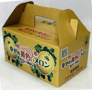 【送料無料】(秀品)幸せの黄色いメロンキズがなく、形がきれいなものを選りすぐり。3〜4玉 2kg化粧箱【〜6月】甘さは抜群なのにしつこくない、サクサクとした口当たり熊本県 菊池市 七城